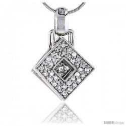 "Sterling Silver Jeweled Diamond Pendant, w/ Cubic Zirconia stones, 3/4"" (20 mm)"