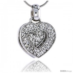 "Sterling Silver Jeweled Heart Pendant, w/ Cubic Zirconia stones, 3/4"" (19 mm) -Style Tp5796"