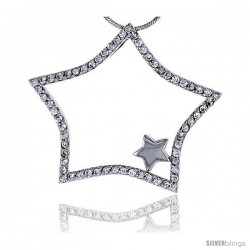 "Sterling Silver Jeweled Star Pendant, w/ Cubic Zirconia stones, 1 7/16"" (36 mm) tall"