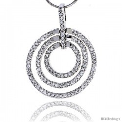 "Sterling Silver Jeweled Graduated Circles Pendant, w/ Cubic Zirconia stones, 1 5/16"" (33 mm) tall"