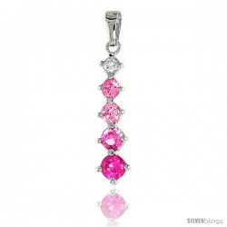 Sterling Silver Jeweled Pendant, w/ Round Pink Cubic Zirconia, 1 1/8 (29 mm)