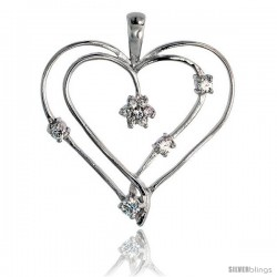 "Sterling Silver Jeweled Heart Pendant, w/ Cubic Zirconia stones, 1 3/8"" (34 mm)"