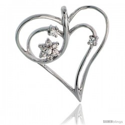 "Sterling Silver Jeweled Heart Pendant, w/ Cubic Zirconia stones, 1 1/8"" (29 mm)"
