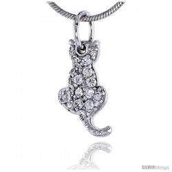 "Sterling Silver Jeweled Sitting Cat Pendant, w/ Cubic Zirconia stones, 9/16"" (15 mm) tall"