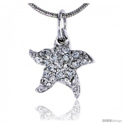 "Sterling Silver Jeweled Starfish Pendant, w/ Cubic Zirconia stones, 1/2"" (13 mm) tall"