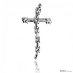 "Sterling Silver Jeweled Cross Pendant, w/ Cubic Zirconia stones, 1 1/8"" (29 mm)"