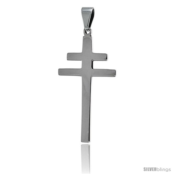https://www.silverblings.com/2641-thickbox_default/stainless-steel-patriarchal-cross-pendant-1-1-2-in-tall-30-in-chain.jpg