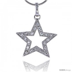 "Sterling Silver Jeweled Star Pendant, w/ Cubic Zirconia stones, 7/8"" (22 mm) tall"