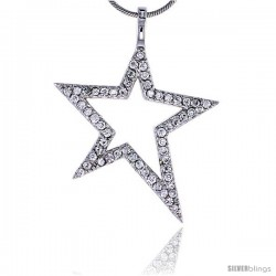 "Sterling Silver Jeweled Star Pendant, w/ Cubic Zirconia stones, 1 7/16"" (37 mm) tall -Style Tp6346"