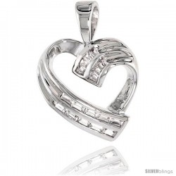 Sterling Silver Jeweled Heart Pendant, w/ Baguette Cubic Zirconia, 3/4 (20 mm)
