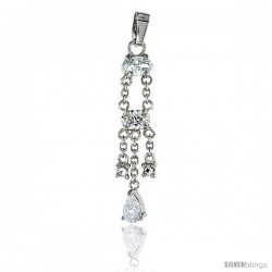 Sterling Silver Jeweled Pendant, w/ Oval Pear Round Cubic Zirconia, 1 1/2 (39 mm)