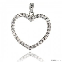 Sterling Silver Jeweled Heart Pendant, w/ Cubic Zirconia stones, 1 1/8 (28 mm) -Style Tp6675