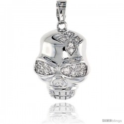 Sterling Silver Skull Pendant, w/ Cubic Zirconia jeweled Cross, 15/16 (23 mm)