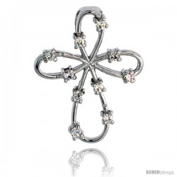 "Sterling Silver Jeweled Everlasting Love Cross Pendant, w/ Cubic Zirconia stones, 1 1/8"" (28 mm)"