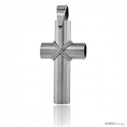 Stainless Steel Large Wire Wrapped Tube Cross Pendant, 2 in tall with 30 in chain