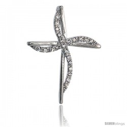 """Sterling Silver Jeweled Cross Pendant, w/ Cubic Zirconia stones, 1 1/2"""" (39 mm) -Style Tp7375"""
