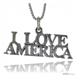 Sterling Silver I LOVE AMERICA Word Necklace, w/ 18 in Box Chain