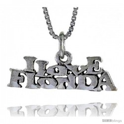Sterling Silver I LOVE FLORIDA Word Necklace, w/ 18 in Box Chain
