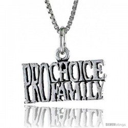 Sterling Silver PRO-CHOICE, PRO-FAMILY Word Necklace, w/ 18 in Box Chain