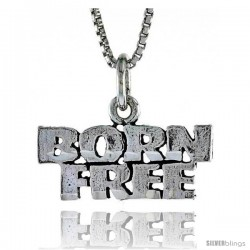 Sterling Silver BORN FREE Word Necklace, w/ 18 in Box Chain