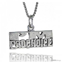 Sterling Silver I'M PRO-CHOICE Word Necklace, w/ 18 in Box Chain