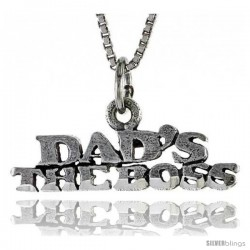 Sterling Silver DAD'S THE BOSS Word Necklace, w/ 18 in Box Chain
