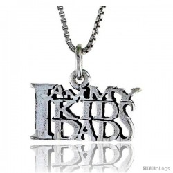 Sterling Silver I AM MY KID'S DAD Word Necklace, w/ 18 in Box Chain