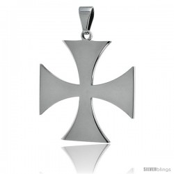 Stainless Steel Maltese Cross Pendant, 1 1/2 in tall with 30 in chain