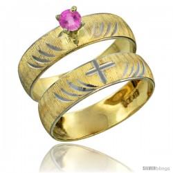 10k Gold Ladies' 2-Piece 0.25 Carat Pink Sapphire Engagement Ring Set Diamond-cut Pattern Rhodium Accent, 3/16 -Style 10y503e2