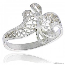 Sterling Silver Freeform Filigree Ring, 1/2 in -Style Fr477