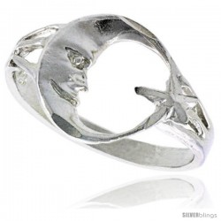 Sterling Silver Moon & Star Ring Polished finish 1/2 in wide