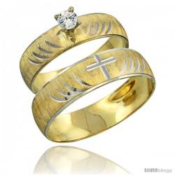 10k Gold 2-Piece Diamond Engagement Ring & Wedding Band Set his & Hers 0.10 cttw Rhodium Accent Diamond-cut -Style 10y503em