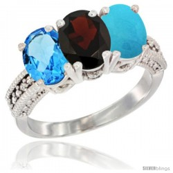 14K White Gold Natural Swiss Blue Topaz, Garnet & Turquoise Ring 3-Stone 7x5 mm Oval Diamond Accent