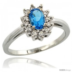 14k White Gold Swiss Blue Topaz Diamond Halo Ring Oval Shape 1.2 Carat 6X4 mm, 1/2 in wide