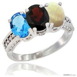 14K White Gold Natural Swiss Blue Topaz, Garnet & Opal Ring 3-Stone 7x5 mm Oval Diamond Accent