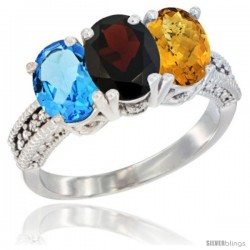 14K White Gold Natural Swiss Blue Topaz, Garnet & Whisky Quartz Ring 3-Stone 7x5 mm Oval Diamond Accent
