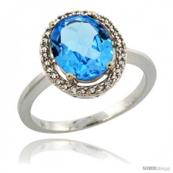 14k White Gold Diamond Halo Blue Topaz Ring 2.4 carat Oval shape 10X8 mm, 1/2 in (12.5mm) wide