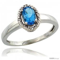 14k White Gold Diamond Halo Blue Topaz Ring 0.75 Carat Oval Shape 6X4 mm, 3/8 in (9mm) wide