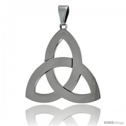 Stainless Steel Triquetra Celtic Trinity knot Pendant, 1 1/2 in tall with 30 in chain