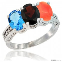 14K White Gold Natural Swiss Blue Topaz, Garnet & Coral Ring 3-Stone 7x5 mm Oval Diamond Accent