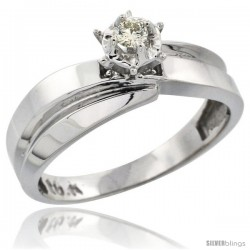 10k White Gold Diamond Engagement Ring, 1/4 in wide