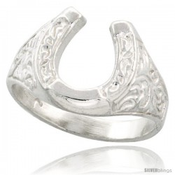 Sterling Silver Horseshoe Ring Polished finish 1/2 in wide
