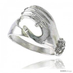 Sterling Silver Hand Ring Polished finish 1/2 in wide