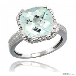 14k White Gold Diamond Aquamarine Ring 5.94 ct Checkerboard Cushion 11 mm Stone 1/2 in wide