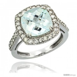14k White Gold Diamond Halo Aquamarine Ring Checkerboard Cushion 9 mm 2.4 ct 1/2 in wide