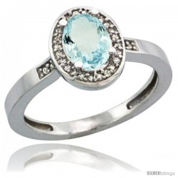 14k White Gold Diamond Aquamarine Ring 1 ct 7x5 Stone 1/2 in wide
