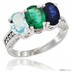 14K White Gold Natural Aquamarine, Emerald & Blue Sapphire Ring 3-Stone Oval 7x5 mm Diamond Accent