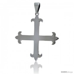 Stainless Steel Avis Cross Pendant, 1 1/2 in tall with 30 in chain