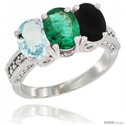 14K White Gold Natural Aquamarine, Emerald & Black Onyx Ring 3-Stone Oval 7x5 mm Diamond Accent