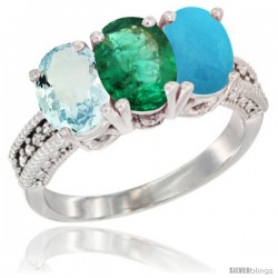 14K White Gold Natural Aquamarine, Emerald & Turquoise Ring 3-Stone Oval 7x5 mm Diamond Accent